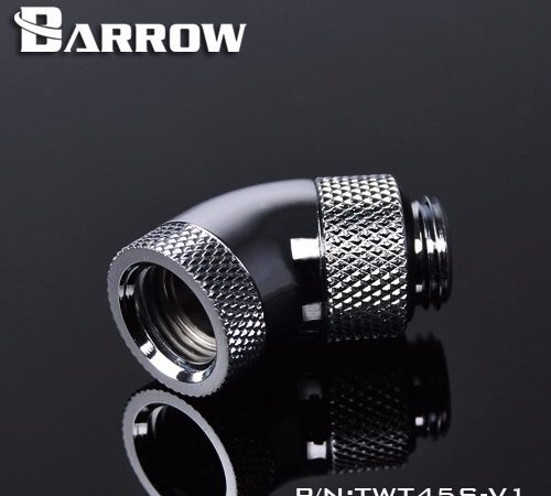 "Barrow Brass G1/4"" thread 45 degree Double Rotary Fitting Adapter Rotating 45 degrees water cooling Adaptors. TWT45S-V1"