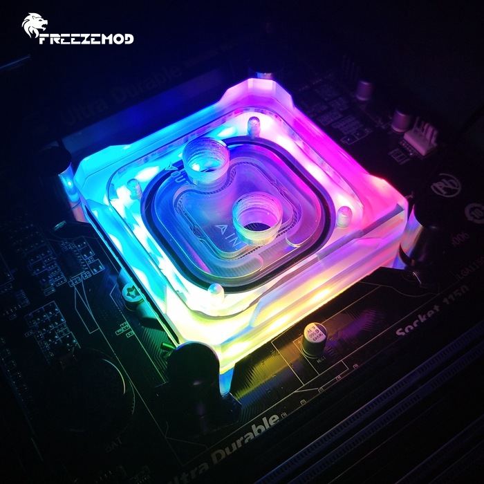 FREEZEMOD computer CPU water cooling cpu AMD block 2019 rainbow light  diffused light effect copper base plate amd  AMD-PK5E